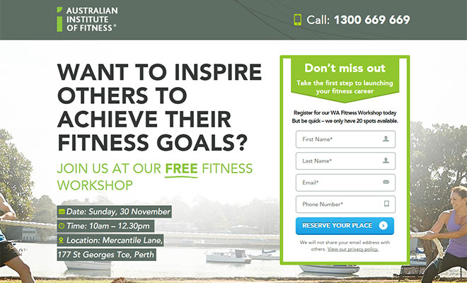 Australian Institute of Fitness Landing Page